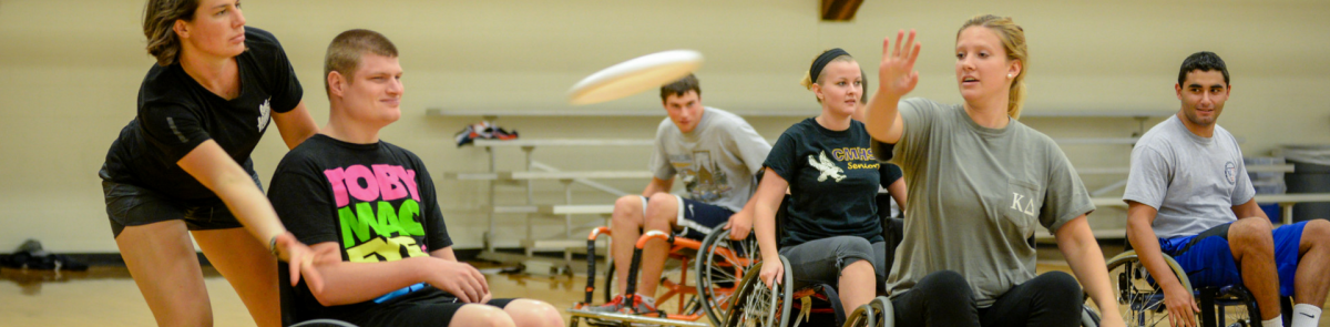RMP students playing wheelchair frisbee