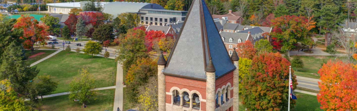 Aerial view of UNH campus in the summer