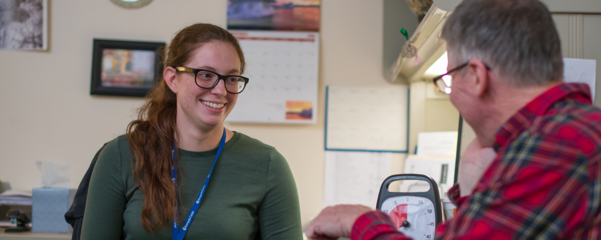 Social work student working with client at Krempels Center in Portsmouth, NH