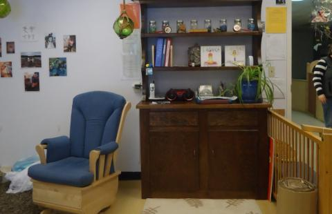 infant classroom chair and shelf