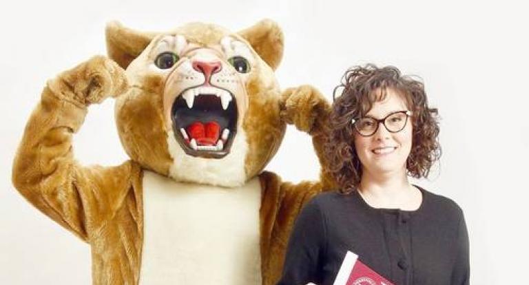 Anna Moskov with the Derryfield School Mascot