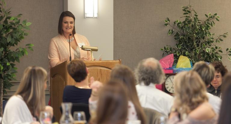 Jackie Maietta giving a speech