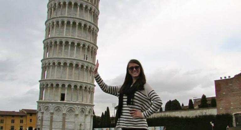 Sarah McVerry at the Leaning Tower of Pisa