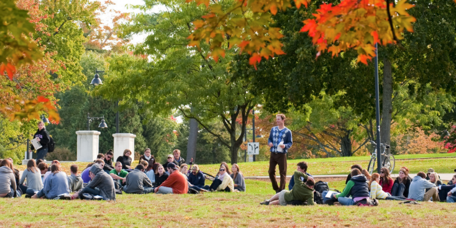 A recreation management and policy class being conducted outdoors on the Durham campus