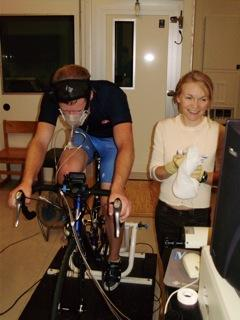 Exercise science student testing exercise bike