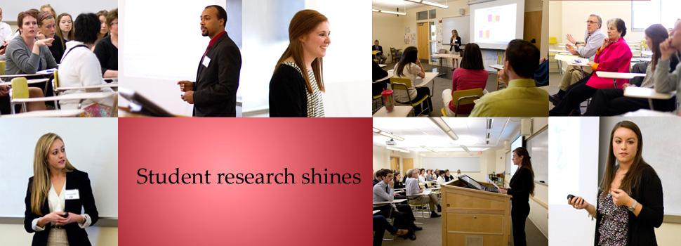 collage of students at grimes undergraduate research competition