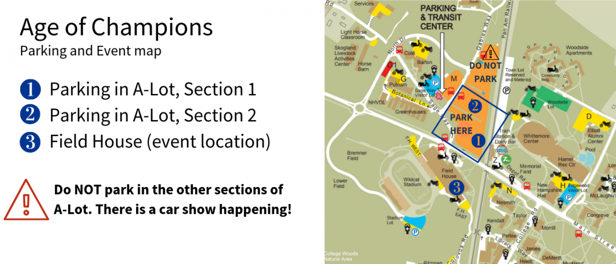 Map with key for parking and event