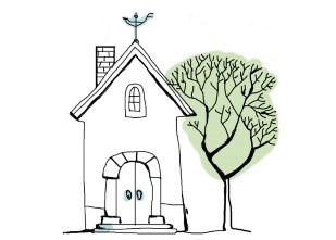 drawing of a house with a tree and a weathervane